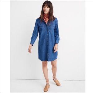 NWT Madewell Denim Puff-Sleeve Shirt Dress